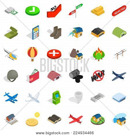 Military force icons set. Isometric set of 36 military force vector icons for web isolated on white background