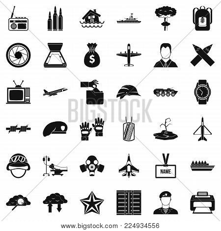 Armed force icons set. Simple set of 36 armed force vector icons for web isolated on white background
