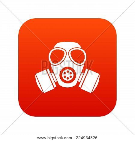 Chemical gas mask icon digital red for any design isolated on white vector illustration