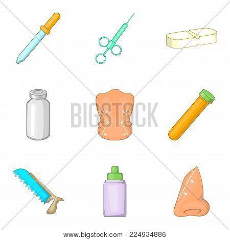 Medical manipulation icons set. Cartoon set of 9 medical manipulation vector icons for web isolated on white background