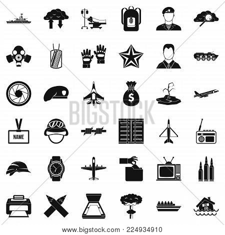 Detachment icons set. Simple set of 36 detachment vector icons for web isolated on white background