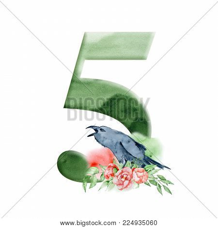 Floral watercolor alphabet. Watercolor number 5 with peonies flowers and crow, Raven. Romantic monogram for wedding invitations and cards