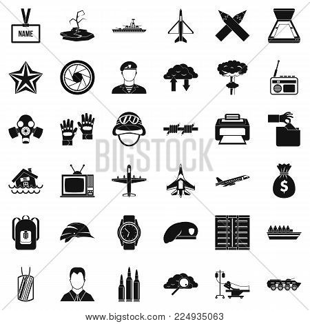 Armed services icons set. Simple set of 36 armed services vector icons for web isolated on white background