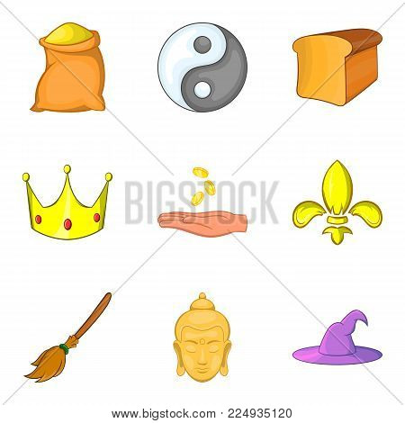 Knightly icons set. Cartoon set of 9 knightly vector icons for web isolated on white background