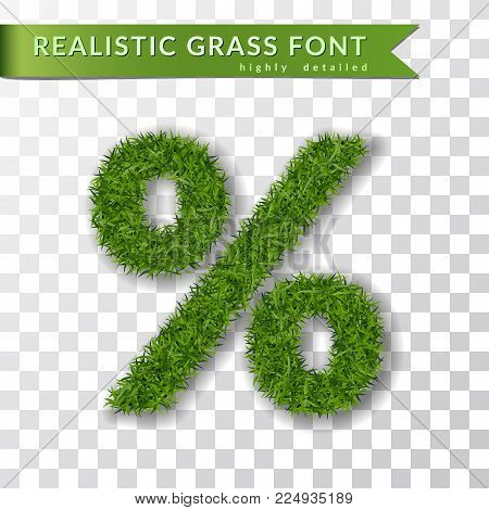 Grass symbol percent. Green percent, isolated on white transparent background. Green grass 3D percent, fresh symbol of nature, lawn, summer. Grass texture. Beautiful eco design Vector illustration