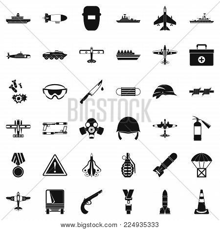 Military resources icons set. Simple set of 36 military resources vector icons for web isolated on white background