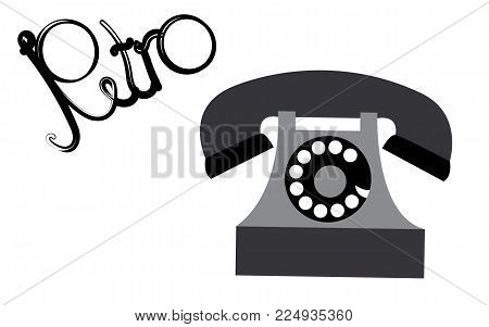 Retro, old, antique, hipster, vintage, ancient, disk, black and white phone with a tube written with retro words written in beautiful black letters on a white background. Vector illustration.