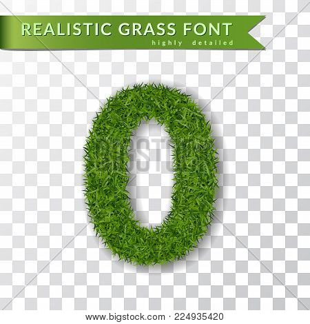 Grass number zero. Green number 0, isolated on white transparent background. Green grass 3D zero, fresh symbol of nature, plant lawn, summer. Grass texture spring font. Eco design Vector illustration