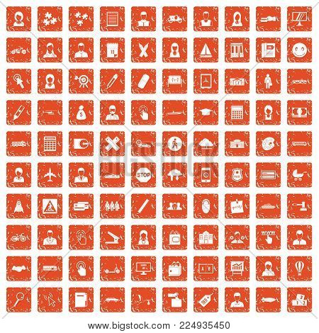100 initiation icons set in grunge style orange color isolated on white background vector illustration