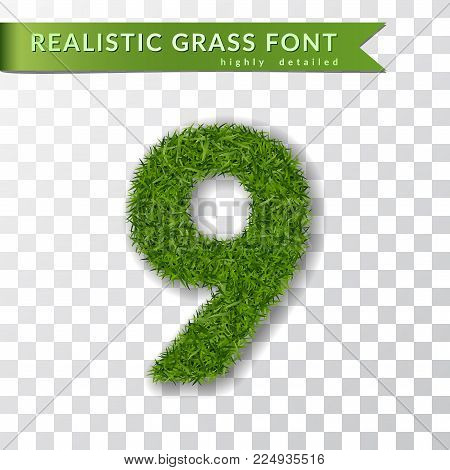 Grass number nine. Green number 9, isolated on white transparent background. Green grass 3D nine, fresh symbol of nature, plant lawn, summer. Grass texture spring font. Eco design Vector illustration