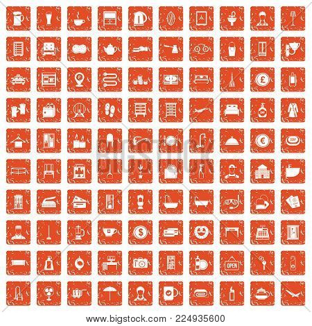100 inn icons set in grunge style orange color isolated on white background vector illustration