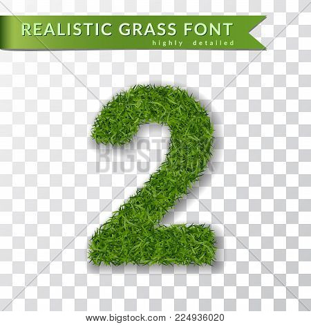 Grass number 2. Green number two, isolated on white transparent background. Green grass 3D 2, fresh symbol of nature, plant lawn, summer. Grass texture font. Beautiful eco design Vector illustration