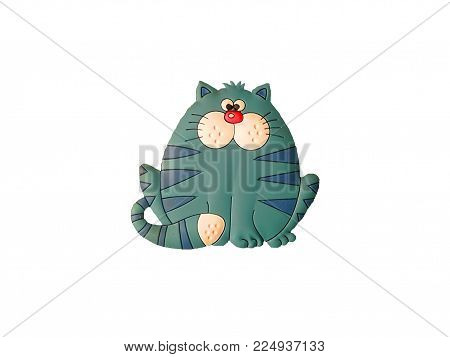 funny fat cat on white background isolated