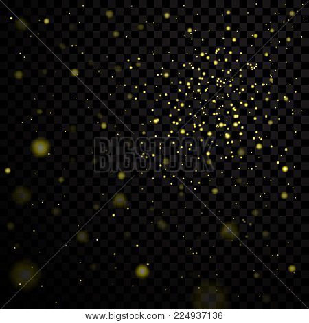 Gold Stars Black Night Sky On Transparent Background. Abstract Bokeh Glowing Space Design. Starry Mi