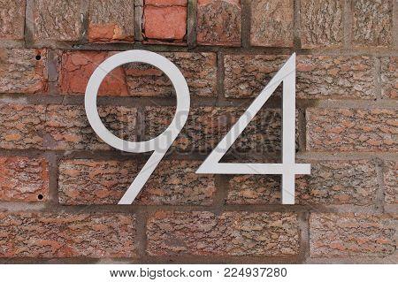number 94 brick address vintage wall ninety four