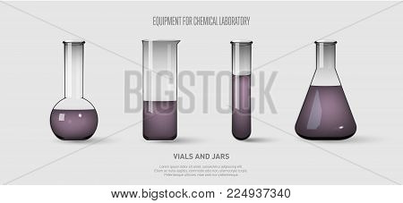 A set of flasks and test tubes with violet liquid. Equipment for chemical laboratory. Transparent glass test tubes. Vector illustration