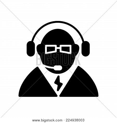 Call center icon vector. Manager of call center, operator, support. Flat linear solid icon isolated on white. Eps 10.
