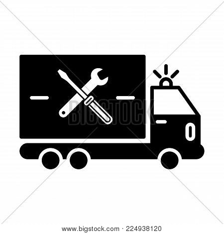 repair sign of auto service with truck and spanner silhouette. Vector icon. Flat solid icon isolated on white. Eps 10.