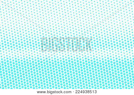 Blue White Dotted Halftone. Halftone Vector Background. Horizontal Faded Dotted Gradient. Retro Futu