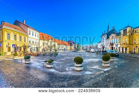 Panorama of old town Samobor in Suburb of capital city Zagreb, popular tourist resort in Northern Croatia.