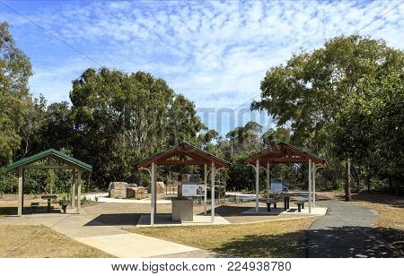 BRIBIE ISLAND, AUSTRALIA - January 29, 2018: Memorial Park with shelters and barbecue facilities at WW II RAN 4 Station in Woorim, Bribie Island, Australia