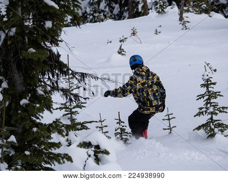 Snowboarder takes his board to the backcountry away from the groomed trails.