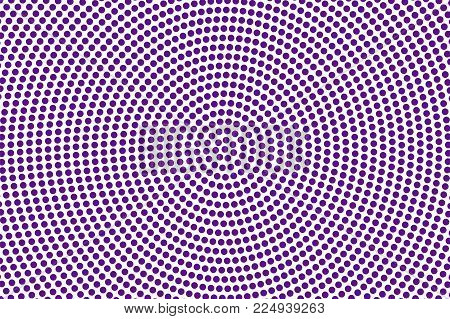 Purple White Dotted Halftone. Halftone Vector Background. Radial Frequent Dotted Pattern. Retro Futu
