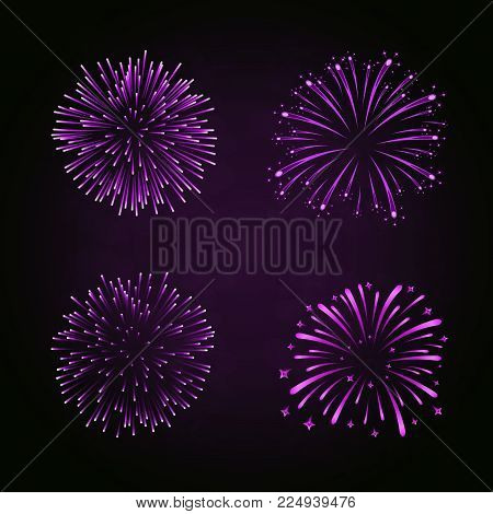 Beautiful Purple Fireworks Set. Bright Fireworks Isolated Black Background. Light Pink Decoration Fi