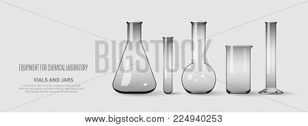 A set of flasks and test tubes. Equipment for chemical laboratory. Transparent glass test tubes. Vector illustration