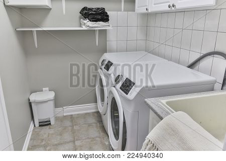 A washing and dryer machine at home. laundry.