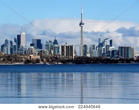 Panorama of Downtown from Humber Bay of the Lake Ontario in Toronto, Canada, January 14, 2018