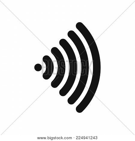 Wifi symbol. Wireless internet connection or hotspot sign. Black simple flat vector icon with rounded corners.