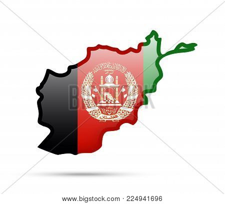 Afghanistan Flag And Outline Of The Country On A White Background.