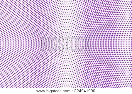 Violet White Dotted Halftone. Halftone Vector Background. Vertical Smooth Dotted Gradient. Retro Fut