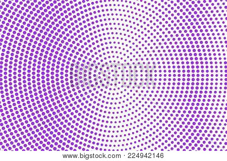 Violet white dotted halftone. Halftone vector background. Sparse radial dotted gradient. Retro futuristic texture. Violet dot on transparent backdrop. Abstract dotwork. Pop art design template