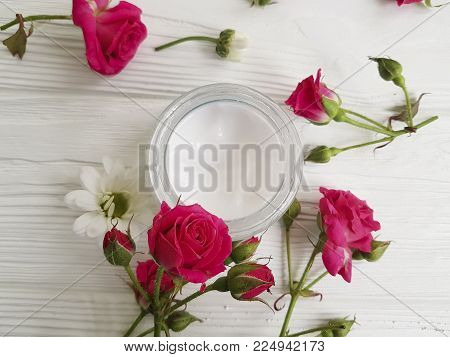 cosmetic cream rose white wooden rustic, organic, mask, healthy, beautiful, handmade, nourishing