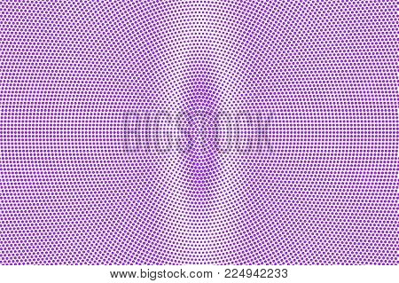 Violet white dotted halftone. Halftone vector background. Vertical oval dotted gradient. Retro futuristic texture. Violet dot on transparent backdrop. Abstract dotwork. Pop art design template