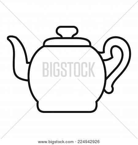Teapot with cap icon. Outline illustration of teapot with cap vector icon for web