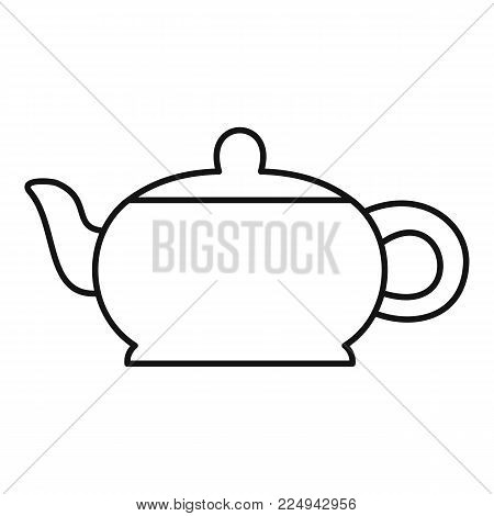 Hot teapot icon. Outline illustration of hot teapot vector icon for web