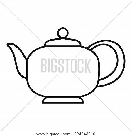 Teapot with handle icon. Outline illustration of teapot with handle vector icon for web