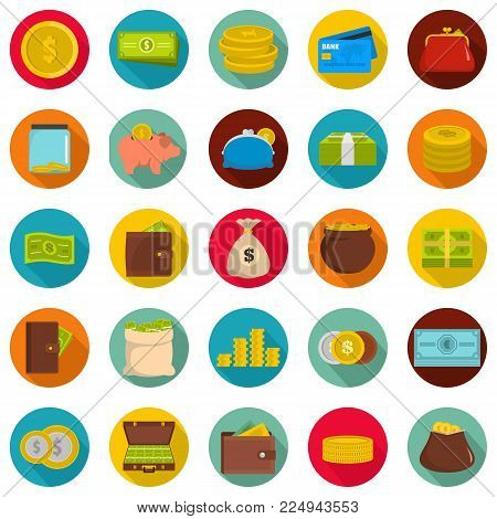 Money icons set. Flat illustration of 25 money vector icons circle isolated on white
