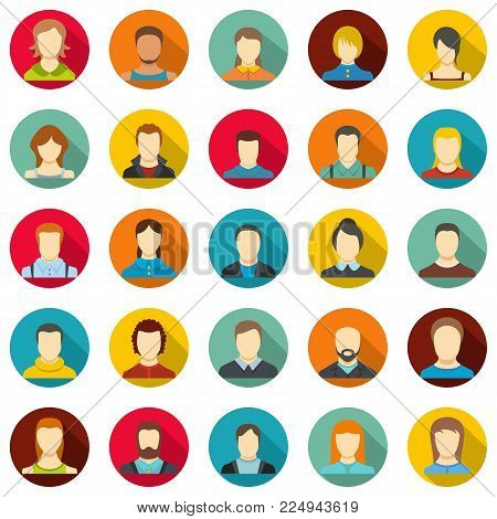 Avatar user icon set. Flat illustration of 25 avatar user vector icons circle isolated on white