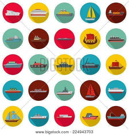 Marine vessels types icons set. Flat illustration of 25 marine vessel type vector icons circle isolated on white