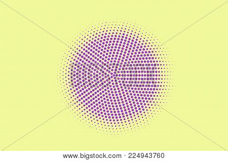 Purple yellow dotted halftone. Halftone vector background. Centered circle dotted gradient. Retro futuristic texture. Violet dot on transparent backdrop. Abstract dotwork. Pop art design template