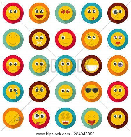 Smile icon set. Flat illustration of 50 smile vector icons circle isolated on white