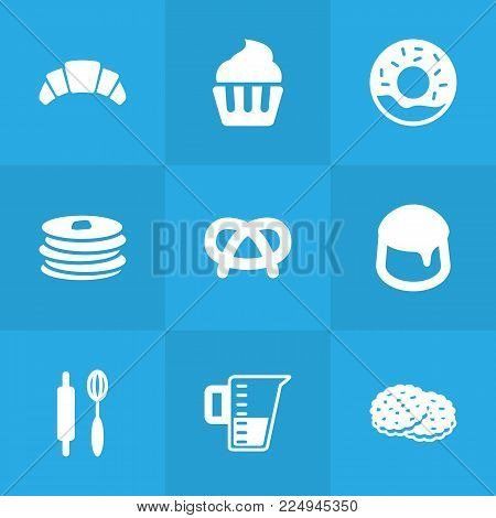 Set of 9 food icons set. Collection of snack, custard, muffin and other elements.