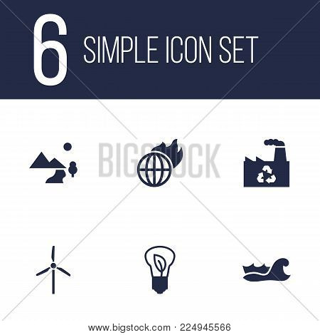 Set of 6 ecology icons set. Collection of sea, factory, warm and other elements.