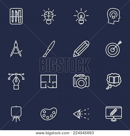 Set of 16 constructive icons line style set. Collection of knowledge, palette, paintbrush and other elements.