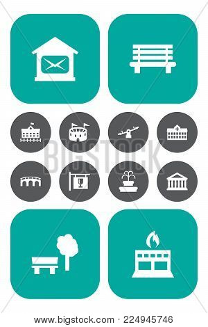 Set of 12 city icons set. Collection of bar, fire station, seesaw and other elements.