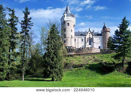 CZECH REPUBLIC, ZLEBY - AUG 27, 2017: renaissance castle Zleby near town Caslav, Central Bohemian region, Czech republic